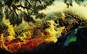 Picture landscape, rendering, canvas, acrylic, a reproduction of the work of Eivind Earle (Earle Eyvind, Over …