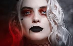 Picture look, portrait, makeup, poster, Harley Quinn, Margot Robbie, Margot Robbie, Harlin Kvinzel, Отряд самоубийц: Миссия …