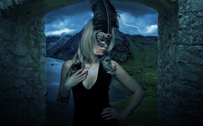Picture the storm, chest, look, girl, mountains, night, nature, face, style, pen, Gothic, shore, lightning, stone, …