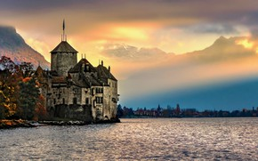 Picture landscape, mountains, nature, fog, lake, castle, Switzerland, Lake Geneva, Chillon castle, The castle of Chillon