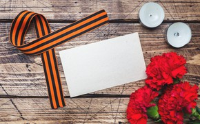 Picture flowers, holiday, candles, victory day, St. George ribbon, May 9, carnation