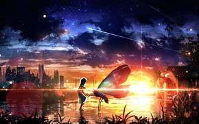 Picture water, girl, sunset, the city, butterfly, fantasy
