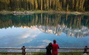 Picture forest, girl, lake, reflection, guy, lovers, Marco Grassi
