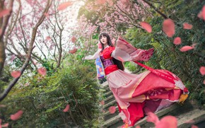 Picture greens, look, girl, trees, flowers, branches, red, cherry, pose, style, the wind, red, spring, makeup, …