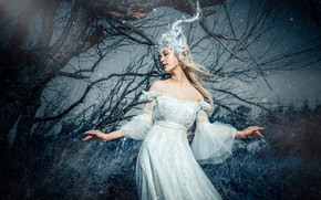 Picture grass, girl, light, branches, nature, face, pose, style, tree, hands, fairy, blonde, costume, outfit, horns, …