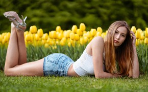 Picture greens, look, flowers, pose, model, shorts, portrait, makeup, Mike, figure, hairstyle, tulips, lies, legs, redhead, …