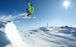 Picture winter, the sky, the sun, snow, mountains, jump, sport, ski, stick, jacket, gloves, helmet, athlete, …