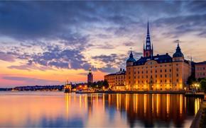 Picture lake, building, home, Stockholm, Sweden, night city, Sweden, Stockholm, Lake Mälaren, Lake Mälaren