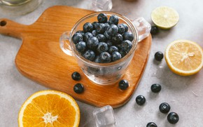 Wallpaper berries, orange, ice, blueberries, Cup, lime, ice, fruit, citrus, slices, cup, fruit, orange, lime, citrus, ...