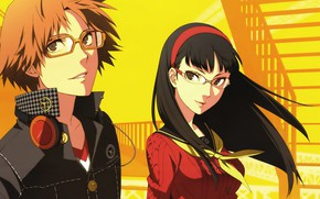 Picture girl, yellow, background, the game, anime, art, guy, Person 4, person