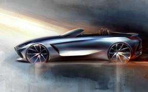 Picture figure, BMW, sketch, profile, Roadster, BMW Z4, Z4, 2019