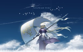 Picture the sky, girl, anime, flag, art, Fate Grand order