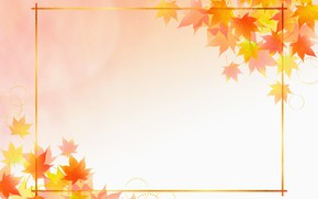 Picture leaves, postcard, template, blank