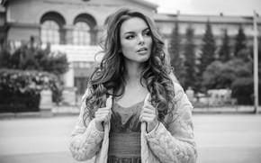 Picture pose, model, portrait, makeup, dress, hairstyle, black and white, beauty, jacket, Anna, bokeh, Efremov Sergey
