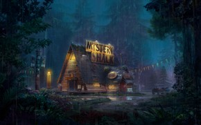 Picture forest, house, rain, car, Mystery Shack