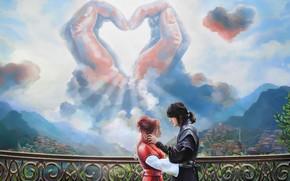 Picture the sky, clouds, love, bridge, romance, hands, pair, two, Perilla