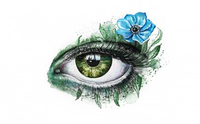 Picture flower, look, leaves, green, eyes, eyelashes, blue, figure, graphics, art, white background, painting, anemone, eye, …