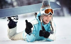 Picture winter, snow, joy, smile, snowboard, hat, girl