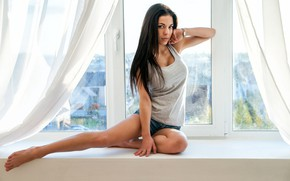 Picture girl, shorts, legs, photo, barefoot, model, window, brunette, portrait, feet, curtains, tank top, looking at …