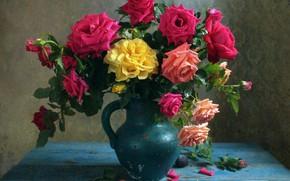 Wallpaper roses, bouquet, pitcher
