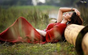Picture red, sexy, nature, model, indian, bollywood, good looking, sari, desi, traditional, item, saari