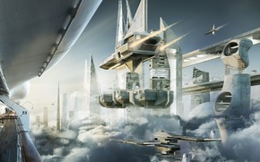Picture clouds, transport, facilities, the spaceport, Skyship cove