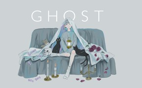 Picture skull, candles, lantern, on the couch, the witch, blue hair, two tails, black cat, black …