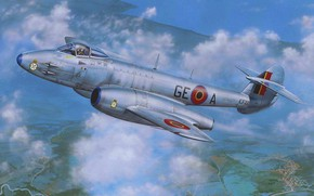 Picture art, airplane, jet, avation, gloster meteor
