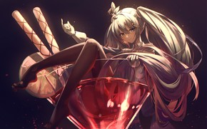 Picture girl, cocktail, Hatsune Miku, Vocaloid, glass, by Xeonomi
