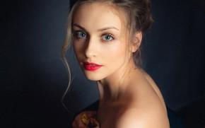 Picture look, pose, background, model, portrait, makeup, hairstyle, brown hair, beauty, bare shoulders, Igor Topolenko