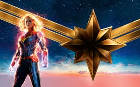 Picture the sky, girl, background, fiction, stars, blonde, costume, poster, comic, MARVEL, Carol Danvers, Captain Marvel, …
