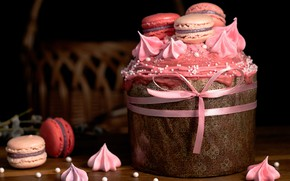 Picture the dark background, pink, holiday, spring, cookies, Easter, basket, bow, cream, dessert, cake, cakes, sweet, …