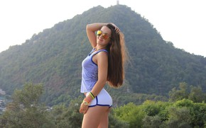 Picture ass, chest, mountains, nature, hair, tenderness, watch, beauty, glasses, legs, hip