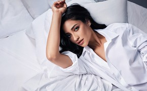 Picture look, girl, photo, bed, shirt, Shay Mitchell, Buxom Campaign