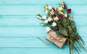 Picture background, gift, blue, bouquet, wood, eustoma, bouguet