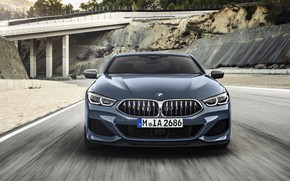 Picture movement, coupe, BMW, Coupe, 2018, highway, gray-blue, 8-Series, pale blue, M850i xDrive, Eight, G15