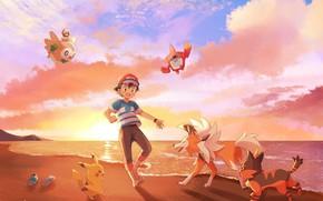 Picture Sunset, The sky, Beach, boy, Pokemon, Boy, Pokemon, Pikachu, Feet, Ash Ketchum, Pokemon, Barefoot, Rowlet, …