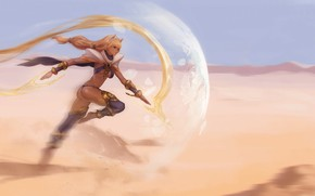 Picture girl, magic, desert, runs