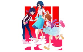 Picture girls, white background, trio, friend, Kill La Kill, Smash slash