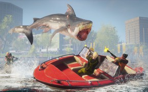 Picture people, boat, shark, Maneater