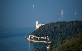 Picture sea, yacht, Italy, sail, Trieste, Miramare castle