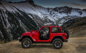 Picture mountains, red, Parking, profile, 2018, Jeep, Wrangler Rubicon