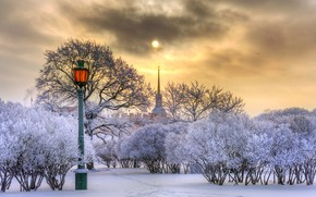 Picture winter, the sun, snow, trees, the city, Peter, Saint Petersburg, lantern, spire, The Mikhailovsky castle, …