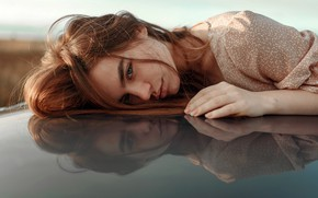 Picture look, pose, reflection, model, portrait, makeup, dress, hairstyle, brown hair, Juliana Naidenova