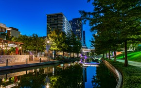 Wallpaper USA, the sky, the evening, Woodlands Waterway, water, channel, lights, trees, Texas, home, reflection