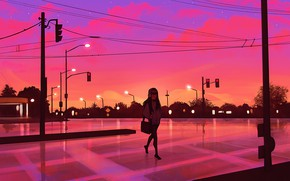 Picture girl, sunset, street, the evening