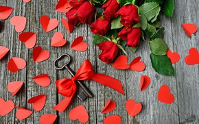 Picture leaves, flowers, bright, Board, roses, bouquet, heart, key, hearts, red, lies, bow, Valentine's day, a …