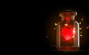 Picture rendering, heat, heart, fantasy, art, Valentine, light, Valentine's Day, moths, Alexander Ovcharenko, valentines daily render