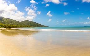 Picture sand, sea, forest, beach, the sky, the sun, clouds, mountains, coast, horizon, Australia