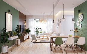 Picture design, interior, living room, dining room, green wall color